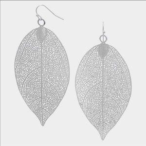 Rhodium leaf earrings